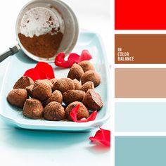 «Вкусное» сочетание цветов. Еле уловимый голубой оттенок создаётлёгкую прохладу и оттеняет красный и коричневый цвет. Идеальноесочетание цветов для кухни. Прекрасный пример, как можно оживитьпростой и скромный интерьер включением жизнерадостного красного цвета.Такой же приём можно применить и в одежде, дополнив костюм краснымшарфиком или сумочкой.