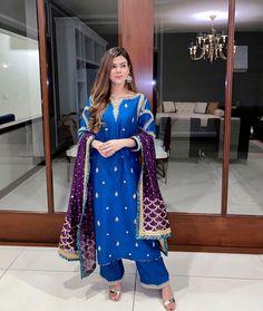 Dark Colors, Colours, Blue Colour Dress, Pakistani Models, Color Combinations, Kimono Top, Sari, Traditional, Suits