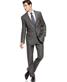 I need this suit. Calvin Klein Suit Separates, Charcoal Pindot 100% Wool Slim Fit - Suits & Suit Separates - Men - Macy's