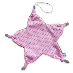 Doudou attache tétine noeud forme étoile coton rose bonbon à petits pois