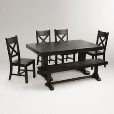 Our classic Verona Dining Collection, including the Trestle Table with plank top, has a distressed finish and looks like it was discovered in a farmhouse in Italy. Dining Room Furniture Sets, Black Dining Room Chairs, Wooden Dining Tables, Dining Room Table, Table And Chairs, Dining Set, Furniture Ideas, Kitchen Tables, Side Chairs