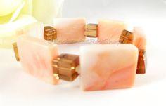 Orange Agate Bracelet w Gold Accents Energy by EnchantedRoseShop