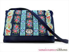 Ribbon Flap Shoulder Bag with Renaissance Ribbons
