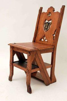 19th Century Metamorphic Library Chair 1/2