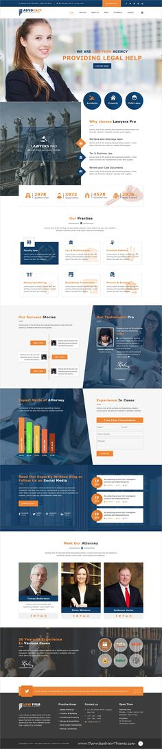 Admocacy is clean and modern design #PSDtemplate for #lawyer, advocate and #law firms #website with 3 homepage layouts and 21 layered PSD files to live preview & download click on image or Visit