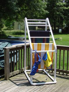 PVC pool towel holder- like the idea to hold fabric