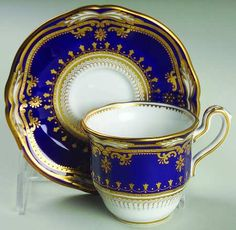 Demitasse Cup And Saucer Set (flat) in the Lancaster-Cobalt (white Body) pattern by Spode China