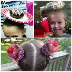 Love the pop bottle hair for silly fancy dress!