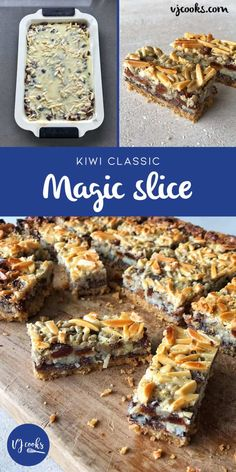 Delicous and Easy Magic Slice Recipe - VJ cooks I made it with fresh NZ cranberries Baking Recipes, Cookie Recipes, Dessert Recipes, Bar Recipes, Baking Ideas, Dessert Ideas, Keto Recipes, No Bake Slices, Easy Slice