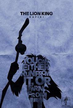 """Affiche le Roi Lion Rafiki """"Tu peux soit le fuir, sois tout en apprendre"""""""