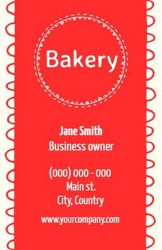 Red Modern Line Circle Simple bakery company business cards with easily edited text