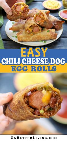 Easy Chili Cheese Dog Egg Rolls (Fry, Air-Fry or Bake) - Appetizer Recipes Egg Roll Recipes, Hot Dog Recipes, Beef Recipes, Cooking Recipes, Recipes With Egg Roll Wrappers, Recipies, Appetizer Recipes, Dinner Recipes, Chili Cheese Dogs