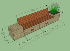 Tuinieren, ziet u zich zelf al zitten op deze handige opbergbank? Backyard Projects, Outdoor Projects, Outdoor Areas, Outdoor Seating, Small Garden Area Ideas, Garden Seating, Small Gardens, Garden Planning, Trees To Plant