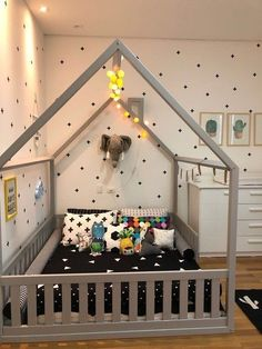 cama casinha casal montessoriana com grade room design boy