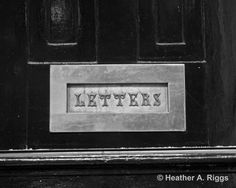 Letters Mail Slot Black and White Photograph 8x10 by shyphotog, $22.00
