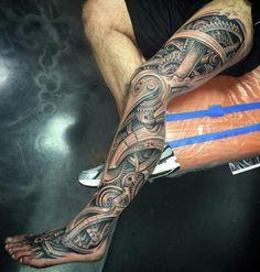 Biomechanical Leg http://tattooideas247.com/biomechanical-leg-sleeve/