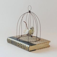 Paper Mache Bird in a Bird Cage on Vintage by GatheredTogether, $60.00
