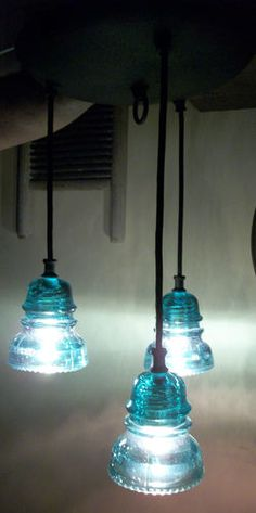 Pendant ceiling light with glass insulators - really like these -great color