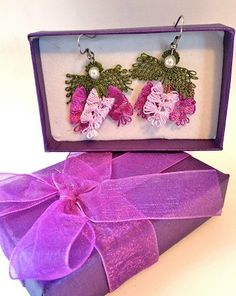Purple Bows Turkish Needle Lace Earrings on Etsy,