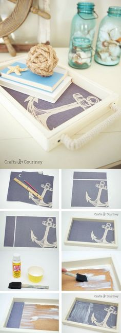 Upcycle a thrift store find using nautical themed scrapbook paper and Mod Podge - this tray is a super easy and budget friendly craft.