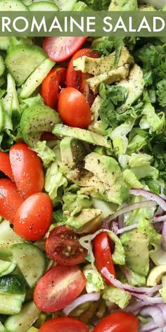 An EASY romaine salad recipe loaded with avocados tomatoes cucumbers and onions. This light and healthy romaine salad recipe is tossed in a healthy homemade dressing. Paleo Salad Recipes, Avocado Salad Recipes, Chicken Salad Recipes, Healthy Recipes, Spinach Salads, Spinach Recipes, Easy Salads, Healthy Salads, Dinner Healthy