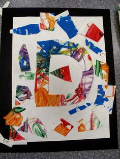 Painting & cut-out letters Cut Out Letters, Fathers Day, Art Projects, Alphabet, Preschool, Collage, Quilts, Mobiles, Festivals