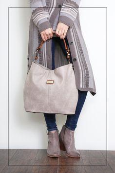 A love affair with neutral hues -- long cardigan + hobo Handbag + short boots. Simply Noelle