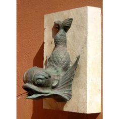 An English bronze wall fountain modelled as a fish - Garden Ornament - LASSCO - England& Prime Resource for Architectural Antiques, Salvage and Curiosities Fish Garden, Wall Ornaments, Fish Sculpture, Bronze, Architectural Antiques, Animal Sculptures, Summer Art, Fantasy Creatures, Art Projects