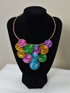 This colorful wire wrapped statement necklace is finished within 15 minutes!