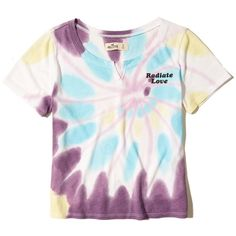 Hollister Tie-Dye Baby T-Shirt (€8,93) ❤ liked on Polyvore featuring tops, t-shirts, purple print, tie-dye shirts, purple tie dye shirt, graphic design t shirts, print t shirts and t shirt