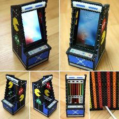 Arcade machine phone holder perler beads by limfactory More - Diy and crafts interests Hamma Beads 3d, Fuse Beads, Pearler Beads, Hamma Beads Ideas, Hama Beads Design, Hama Beads Patterns, Loom Patterns, Diy Perler Beads, Perler Bead Art