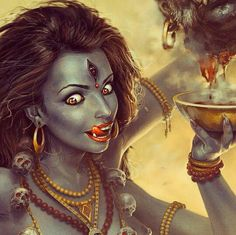 This is my absolute favourite Kali artwork, she looks different in real life when she appears whether apparition, past life regression hypnotherapy etc but I do like how she looks a little crazy in this one Indian Goddess Kali, Black Goddess, Goddess Art, Durga Goddess, Indian Gods, Maa Kali Images, Kali Tattoo, Giger Art, Shiva Shakti