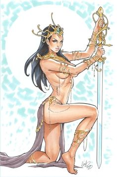 Another sketch of Dejah Thoris, wife of John Carter of Mars, this time with a Martian gun. Description from deviantart.com. I searched for this on bing.com/images