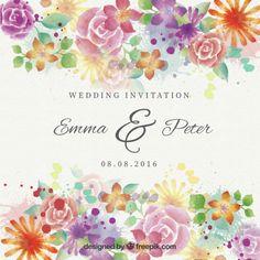 convite de casamento flores bonitas Watercolor Vetor grátis