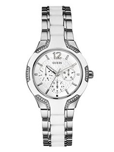 GUESS Womens U0556L1 Sporty SilverTone Watch with White Dial  CrystalAccented Bezel and White Center Link Pilot a9c9b37e421