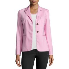 Jil Sander Navy Two-Button Stretch-Wool Blazer ($665) ❤ liked on Polyvore featuring outerwear, jackets, blazers, pink, pink straight jacket, pink jacket, pink blazer, blazer jacket and long sleeve jacket