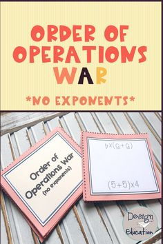 Such a fun way for your students to practice order of operations, without exponents! The students are actively engaged while practicing computation and order of operations at the same time! 5th Grade Math Games, Fifth Grade Math, Order Of Operations, Math Intervention, Math Workshop, Guided Math, Math Activities, Math Resources, Elementary Math