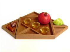 Rosh HaShanah wood tray for Jewish new year by StudioArmadillo