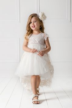 #AMALTHIA dress.  A Victorian tail dress #design by #AlexandraPlati made of unique quality lace decorated with special embroidered patterns on soft tulle. Inner lining is 100% cotton. An haute couture impressive outfit for special occasions. #designersCat #KidsFashion #communie https://www.designerscat.com/collections/baptism-for-girls-summer-collection/products/amalthia-dress-hair-band?variant=24821782661