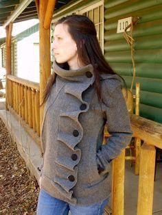 Ruffle front Fleece Jacket