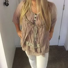 Brown lace top Great condition only wore once Tops Blouses