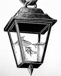 Fish in a street lamp. Funny and Cute Animal Drawings. Click the image, for more art by Diana Sofia. Art Drawings Sketches Simple, Pencil Art Drawings, Funny Sketches, Amazing Drawings, Tattoo Drawings, Cool Drawings, Tattoos, Fleurs Art Nouveau, Doodle Art Drawing
