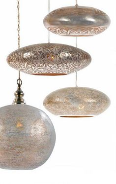 Zen lights - designed in Europe and handmade in Egypt. Made in silver plated brass. (Pendant 9 - 240V Pendant In numerous sizes)