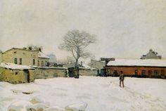 """Alfred  SISLEY """"Sous la neige, cour de ferme Marly-le-Roi"""""""