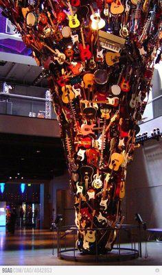 Neat instrument art exhibit.