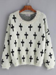 Cross Print Mohair Green Sweater 20.67