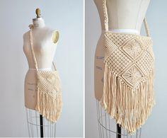 Vintage macrame bag with long fringe by storyofthings on Etsy, $49.00