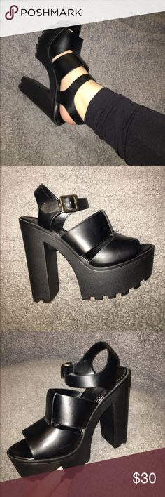Block heels Black block heels with gold buckle, only used once shi by journeys Shoes Heels