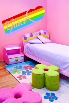 Peronalized Name Rainbow Heart Wall Decal - ChicWalls.com