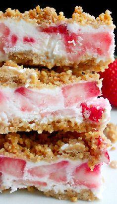 Frozen Strawberries and Cream Bars